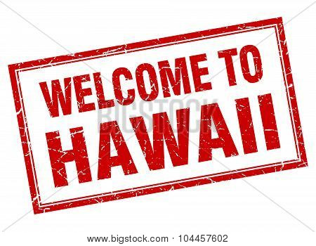 Hawaii Red Square Grunge Welcome Isolated Stamp