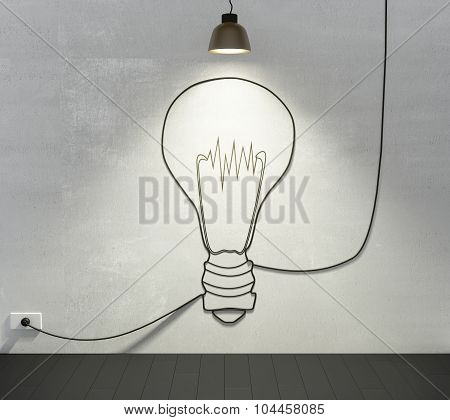 Idea Concept, Big Lightbulb In Room With Wooden Floor And Concrete Wall