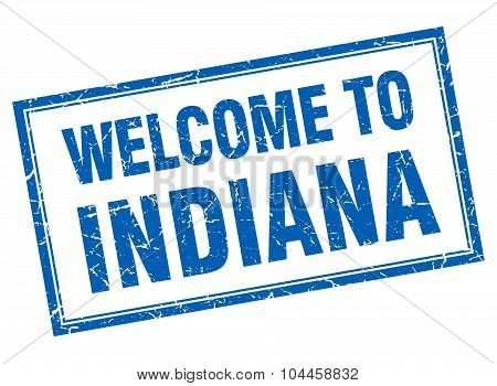 Indiana Blue Square Grunge Welcome Isolated Stamp