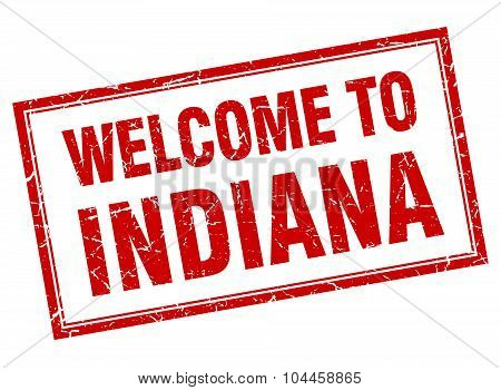 Indiana Red Square Grunge Welcome Isolated Stamp