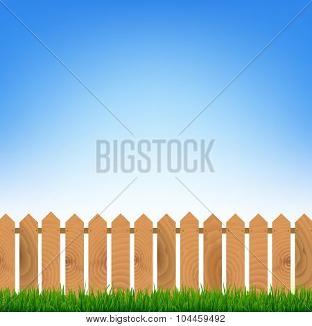 Fence With Green Grass And Blue Sky With Gradient Mesh, Vector Illustration