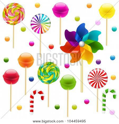 Lollypop Big Set With Pinwheel With Gradient Mesh, Vector Illustration