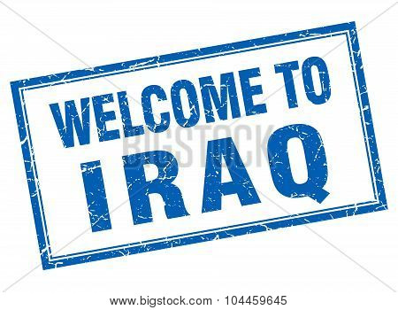Iraq Blue Square Grunge Welcome Isolated Stamp
