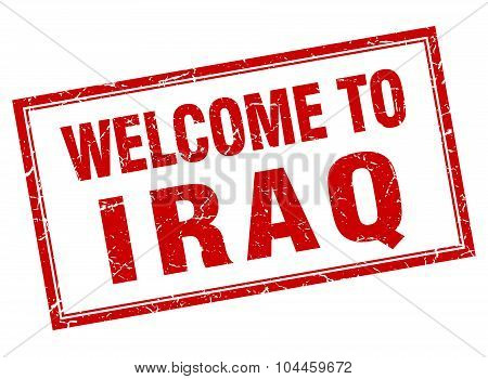 Iraq Red Square Grunge Welcome Isolated Stamp