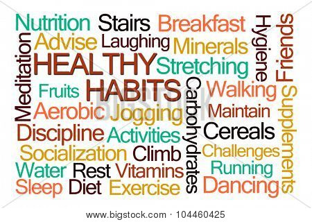 Healthy Habits Word Cloud on White Background