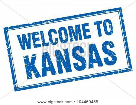 Kansas Blue Square Grunge Welcome Isolated Stamp