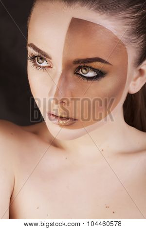 half faced woman before tanning and after close up isolated on white smiling