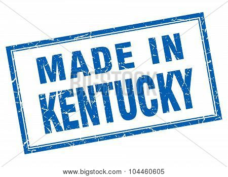 Kentucky Blue Square Grunge Made In Stamp
