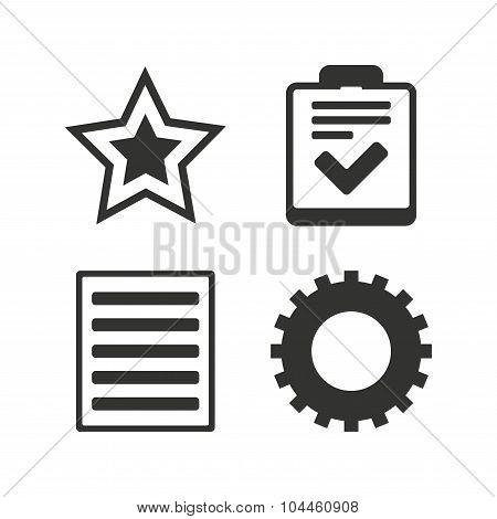 Star and menu list signs. Checklist, gear.