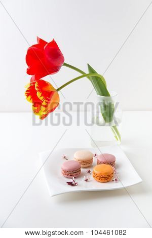 Macaroon Cookies On A Plate.