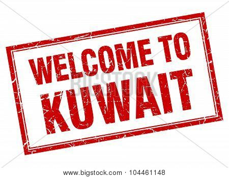 Kuwait Red Square Grunge Welcome Isolated Stamp