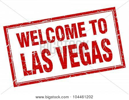 Las Vegas Red Square Grunge Welcome Isolated Stamp
