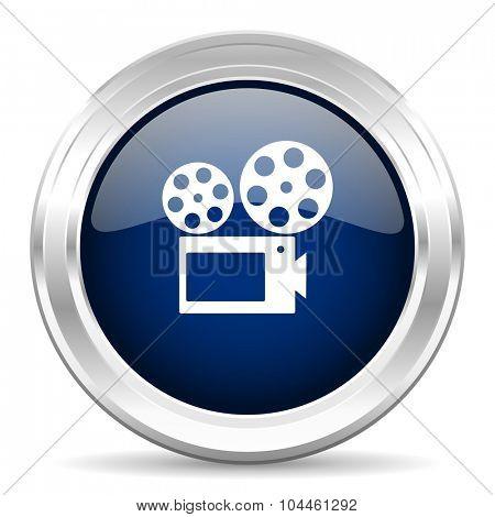movie cirle glossy dark blue web icon on white background