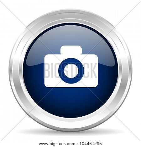camera cirle glossy dark blue web icon on white background