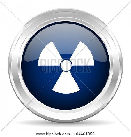 radiation cirle glossy dark blue web icon on white background