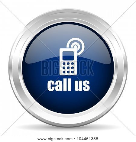 call us cirle glossy dark blue web icon on white background