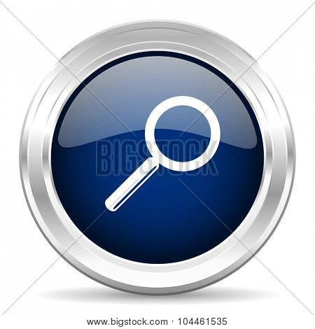 search cirle glossy dark blue web icon on white background