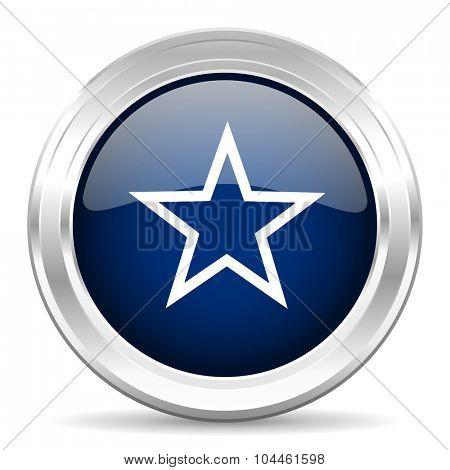 star cirle glossy dark blue web icon on white background