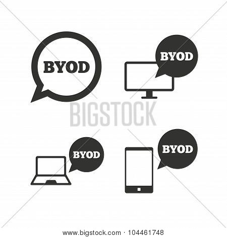 BYOD signs. Notebook and smartphone icons.