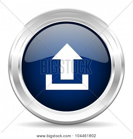 upload cirle glossy dark blue web icon on white background