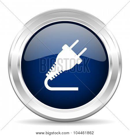 plug cirle glossy dark blue web icon on white background