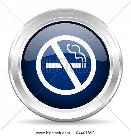 no smoking cirle glossy dark blue web icon on white background