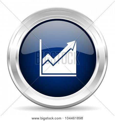 histogram cirle glossy dark blue web icon on white background