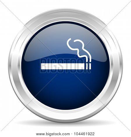 cigarette cirle glossy dark blue web icon on white background