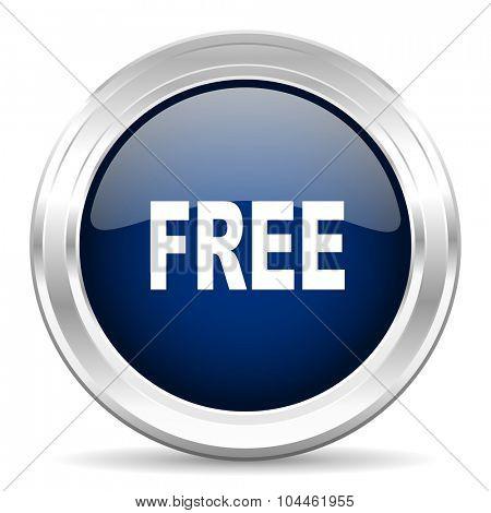 free cirle glossy dark blue web icon on white background