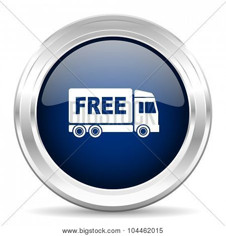 free delivery cirle glossy dark blue web icon on white background