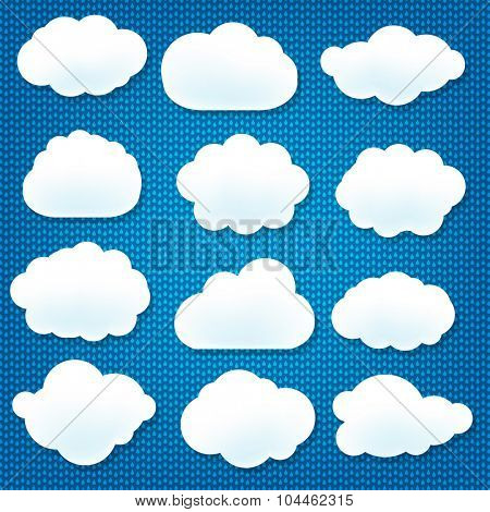 Cloud Icons With Blue Background With Gradient Mesh, Vector Illustration