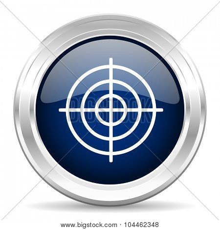 target cirle glossy dark blue web icon on white background