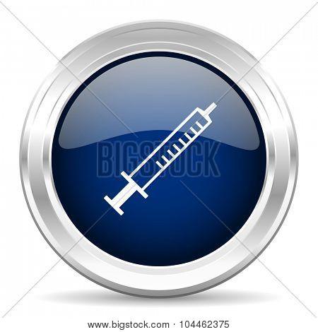 medicine cirle glossy dark blue web icon on white background