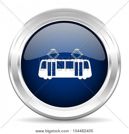 tram cirle glossy dark blue web icon on white background
