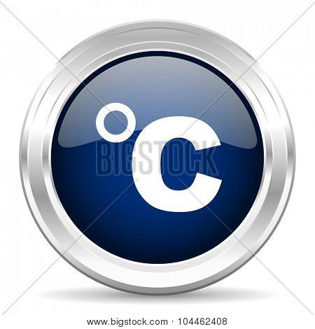 celsius cirle glossy dark blue web icon on white background