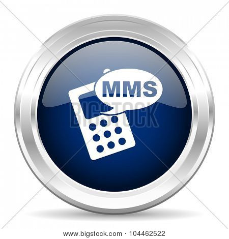 mms cirle glossy dark blue web icon on white background