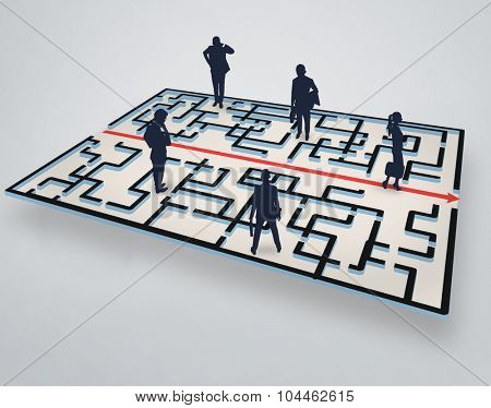 Maze illustration and group of people