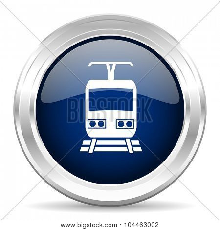 train cirle glossy dark blue web icon on white background
