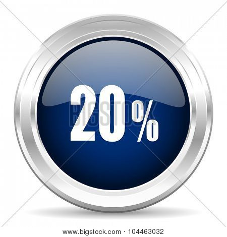 20 percent cirle glossy dark blue web icon on white background