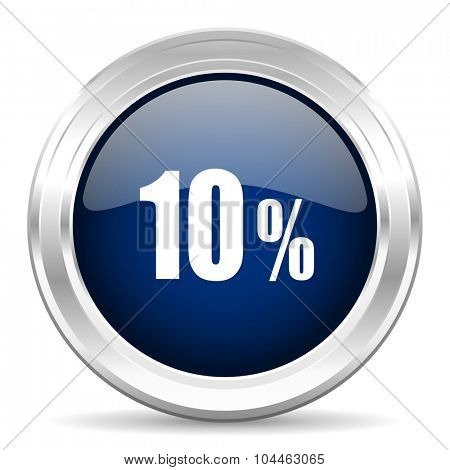 10 percent cirle glossy dark blue web icon on white background