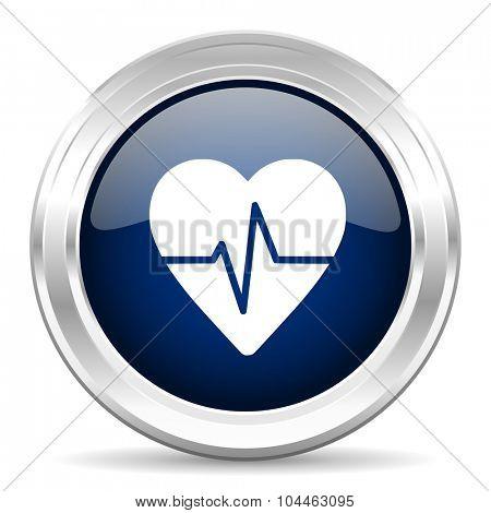 pulse cirle glossy dark blue web icon on white background