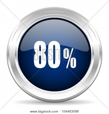 80 percent cirle glossy dark blue web icon on white background