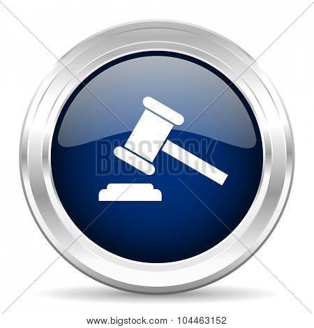 auction cirle glossy dark blue web icon on white background