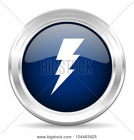 bolt cirle glossy dark blue web icon on white background