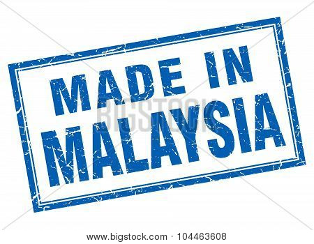 Malaysia Blue Square Grunge Made In Stamp