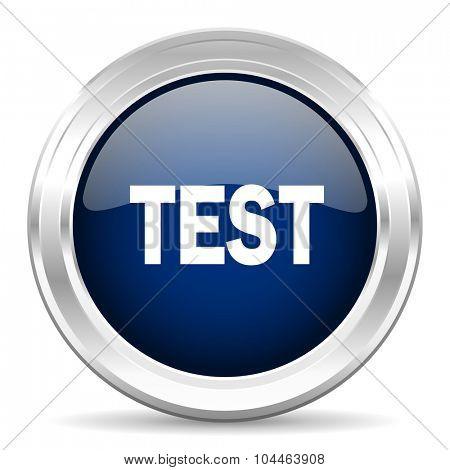 test cirle glossy dark blue web icon on white background