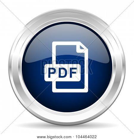 pdf file cirle glossy dark blue web icon on white background