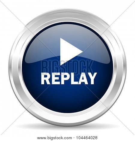 replay cirle glossy dark blue web icon on white background