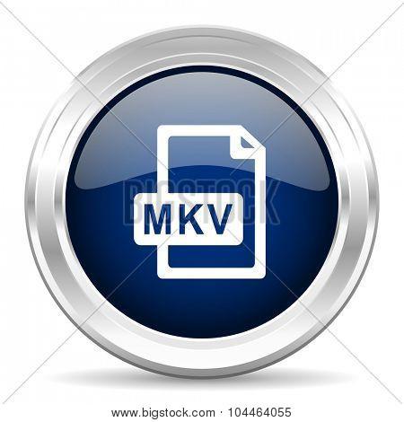 mkv file cirle glossy dark blue web icon on white background