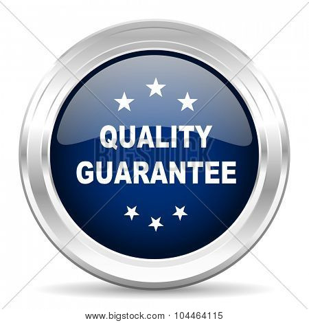 quality guarantee cirle glossy dark blue web icon on white background